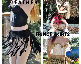 Fringe skirt, Fringe Leather skirt, Black Leather mini skirt, size S