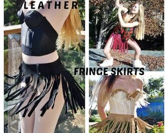 Fringe skirt. Fringe Leather skirt. Black Leather mini skirt size S