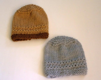 Hand Knitted -  Tan and Dark Brown or Grey Baby Hat