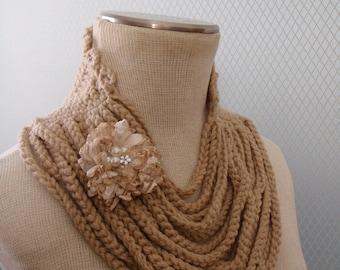 Shurg, Soft scarf, floral scarf, scarves, crochet, bridal, flower, handmade, fashion, gift, costum, neckwarmer, women, off white