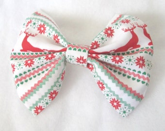 Ugly Christmas Sweater Holiday Fabric Hair Bow