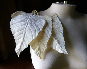 3 IVORY Velvet Leaves Very Large for Bridal Headpieces, Hats, Floral Supply, Crafts ML 117