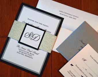 Silver Glitter Band Design Main Wedding Invitation Set