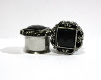 "Filigree Black Crystal and Silver Plugs 1/2"" 9/16"" 5/8"" 12mm 13mm 14mm 16mm"
