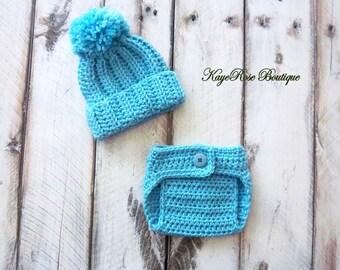 Newborn Baby Boy Pom Pom Crochet Hat and Diaper Cover Set Teal