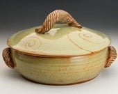 Pottery Handmade 2 quart Casserole Baking Dish-Spiral design painted on lid- Unique Handle-Dishwasher and Food Safe-Greenish Tan Rusty Glaze