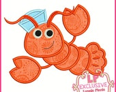 SAILOR LOBSTER Applique 4x4 5x7 6x10 SVG Machine Embroidery Design Instant