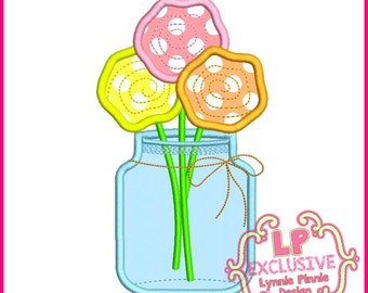 Flowers in a Jar Applique 4x4 5x7 6x10 SVG Machine Embroidery Design Instant
