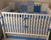 Complete Nursery Set READY TO SHIP Crib Bedding Blue and Gray Elephants