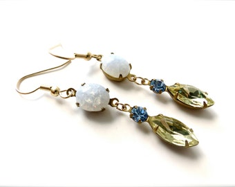 Pale Green and Sapphire Blue Jewel Earrings with Iridescent Glass Accents, Old Hollywood Mid Century Glamour, Gold Hypoallergenic Steel