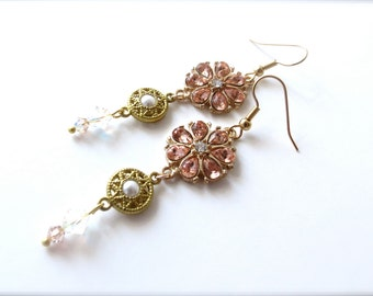 Peach Jewel Rhinestone Flower Long Dangle Earrings with Gold Pearl Ornate Connector and Crystal Accents, Traditional Formal, Hypoallergenic