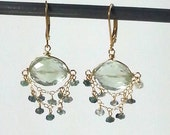 Green amethyst and tourmaline earrings