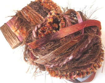 CHOCOLATE TRUFFLES Specialty Yarn Fiber Embellishment Bundle - Scrapbooking, Altered Arts, Jewelry - 5 or more bundles 10% off
