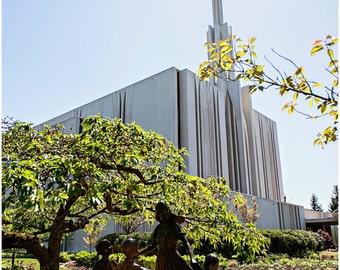 Seattle LDS Temple Fine Art Canvas wrap -Mormon -Washington -Angel Moroni -Spring