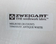 """A 19"""" by 55"""" piece of  Zweigart """"Melrose"""" 28-count """"Antique White"""" patterned linen fabric for needlework"""