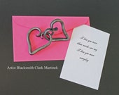 Iron heart anniversary gift Two hearts become one, Valentine gift for her, metal gift for him