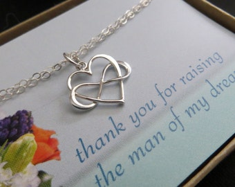 Mother of the groom jewelry, infinity heart bracelet, interlocking infinity bracelet for mother of the groom gift, thank you card,weddings