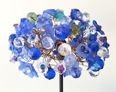 RESERVED Royal Blue Floral Table Lamp