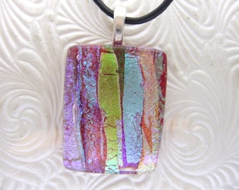 Red Sizzle Dichroic Pendant, Handmade Fused Glass Jewelry from North Carolina