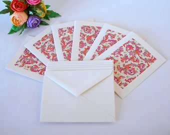 Italian paper - six blank note cards - all one pattern-  pink, coral Italian Florentine-six ivory envelopes - Ready to ship