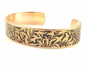 William Morris Willow Boughs - Skinny Cuff Bracelet - Plant Botanical Jewelry - Arts and Crafts Movement