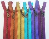 Metal Teeth Zippers- YKK Antique Brass Donut Pull Number 4.5s- 6 pc Jewel Tones Sampler Pack- Available in 4,5,7,9,11 and 14 inches