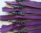 Metal Teeth Zippers- YKK Antique Brass Donut Pull Number 4.5s- 5 pc Eggplant Purple 265- Available in 4,5,7,9,11 or 14 inch
