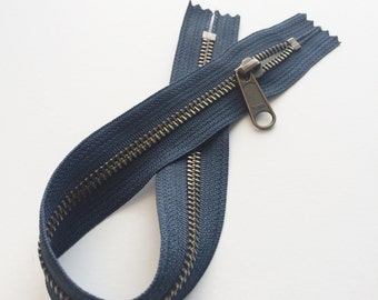 ONE 14 Inch Antique Brass YKK Metal Zipper Closed on both ends with One Long Pull Head to Head Slider- 560 Dark Navy Blue