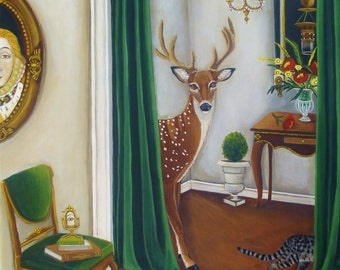 Fine Art Print of my Still Life Painting of a deer-The Perfect Space- catherine nolin Original Painting