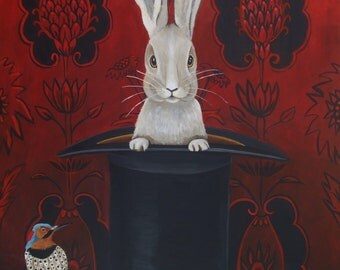 Fine Art print of the Original Painting-Do You Believe?  Animal painting, Bunny, rabbit art by Catherine Nolin