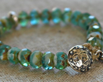 Green organic colored rustic stacking bracelet Artisan Sterling silver clasp
