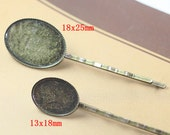 Hair Pin Blank -- 10pcs Antique Bronze bobby pins with 18x25mm Bezel L05734-2--20% OFF