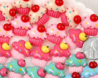 Cupcake Cabochons - 19mm Kawaii Cupcakes Flatback Resin Cabochons - 10 pc set