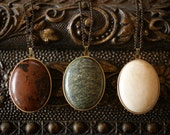 Solid Perfume Locket Necklace with Natural Stone lid - brass locket pendant and Serpentine, Mahogany Obsidian, or River Stone