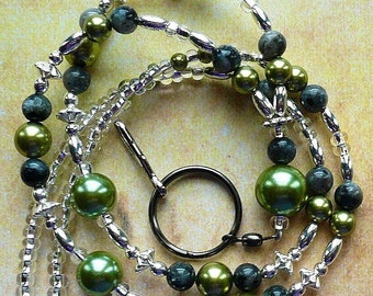 Green Beaded Lanyard, Id Badge Holder, Id Necklace
