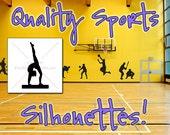 GYMNAST Silhouette Decal 9, High QUALITY Vinyl Wall Silhouette Decals, Balance Beam Decal Wall (Many Gymnast Sticker Sizes) Gymnastics