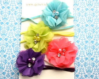 Set of 4 Spring Organza Stretch Headbands