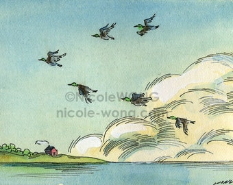 Original ACEO Painting -- Flying home