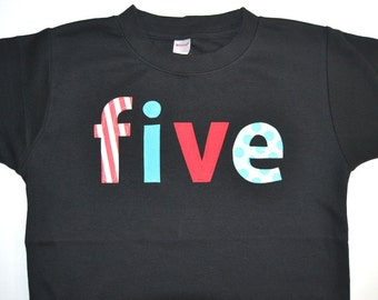 5th Birthday Shirt for Boys / Five Year Old Birthday Shirt / READY TO SHIP / Turning Five / Boys 5th Birthday Tee