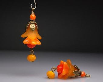 Vintage Style Bead Dangles Orange Lucite Flowers Pair O56