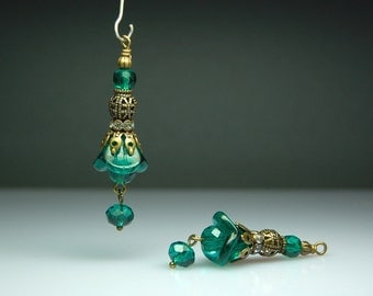 Vintage Style Bead Dangles Teal Green Glass Flowers Pair G901