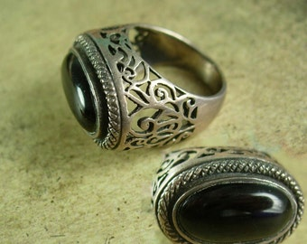 Vintage Art deco Ring 1920s sterling Black onyx LARGE setting gothic  ring Size 5