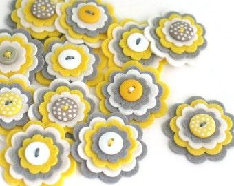 MAYA x 3 Felt Flowers, Handmade Embellishments, Flower Applique, Felt Embellishment, Wedding Flowers, Hair Clippie Flowers, Kids Crafts