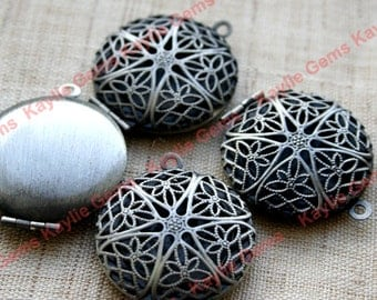 Round Filigree Locket Dark Oil Rubbed Burnished Antique Silver Pendants Charms - LKRS-1407NP - 2pcs