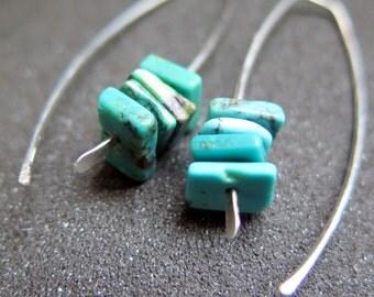 turquoise earrings. eco friendly silver earrings. birthstone jewelry.