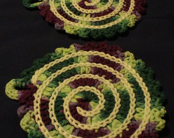 Over-sized Cotton Spiral Coasters - Set of Two - ready to ship - crocheted