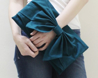 Back To School SALE - 20% OFF BOW in Dark Teal / Clutch Bag / Dinner Bag / Wristlet / Mini iPad / Tablet / Women / For Her / Gift Ideas