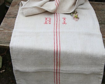 Nr. 509: Grain Sack antique FRENCH RED pillow benchcushion 22.83 wide wedding girl room decoration