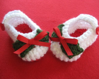 Ready to Ship -  Crocheted Christmas Baby Shoes - Crochet Holly Mary Janes - Crocheted Holly Booties - Size 6 to 12 Months