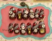 Alice in wonderland, kawaii nails, lolita nails, egl, deco nail, brown, bunny, nail dangling, lolita accessory, fake sweets,  dark nails,